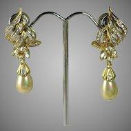 Vintage D'Orlan Faux Pearl & Rhinestone Dangle Teardrop Earrings