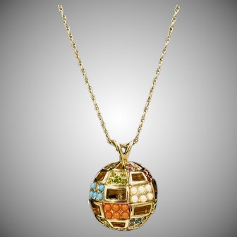 Vintage D'Orlan Colorful Ball Pendant