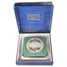 Vintage Guilloche Enamel Sterling Powder Compact 1940s