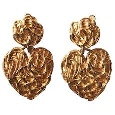 Vintage Edouard Rambaud Paris Huge Dangling Heart Earrings