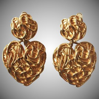 Vintage Edouard Rambaud Paris Huge Dangling Heart Earrings