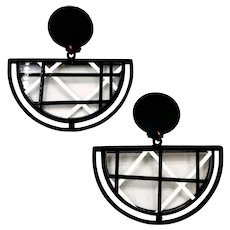 Vintage French Black White Glass Geometric Earrings Made In Paris