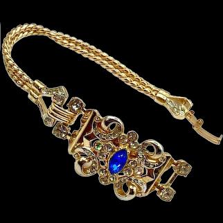 Vintage Coro Rhinestone Chain Bracelet