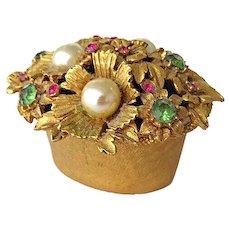 Vintage Florenza Flower Trinket Box