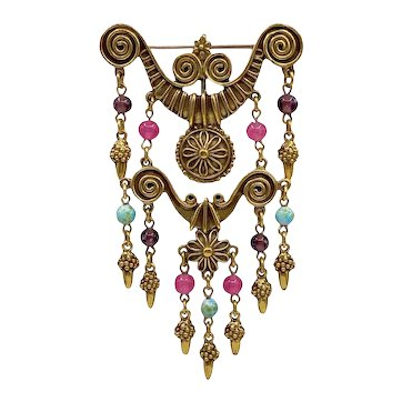 Vintage Etruscan Revival Brooch with Dangling Glass Beads
