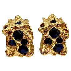 Vintage Guy Laroche Paris Modernist Rhinestone Earrings