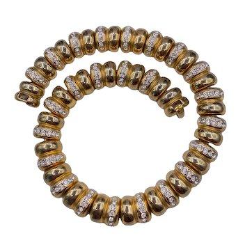 Vintage Goldtone Rhinestone Link Necklace