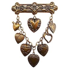 Vintage Dangling Heart Embossed Brass Stamping Brooch