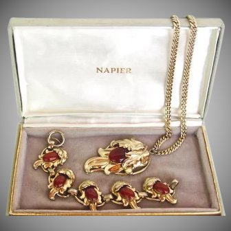Vintage Napier 1950's Bracelet and Pendant Original Box Book Piece