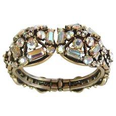 Vintage Hollycraft Aurora Borealis Rhinestone Clamper Bracelet