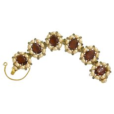 Vintage Hattie Carnegie Faux Pearl and Rhinestone Bracelet