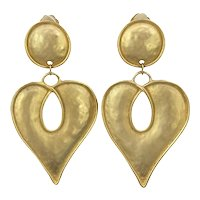 Vintage Huge Heart Goldtone  Earrings 1980s