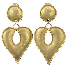 Vintage Huge Heart Goldtone  Earrings 1980s