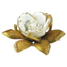Vintage Hobe Glass & Rhinestone Flower Brooch