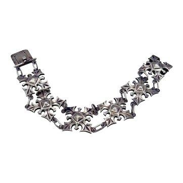 Vintage French Sterling Link Bracelet Signed Y. D'Aray