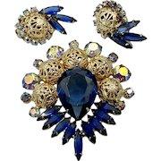 Vintage Juliana D&E Blue Filigree Brooch and Earrings