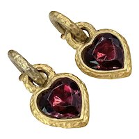 Vintage Jacky De G Red Heart Earrings Paris