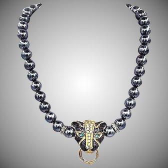 Vintage Kenneth Jay Lane KJL Panther Necklace
