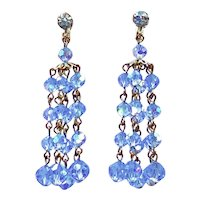 Vintage Light Blue Aurora Borealis Crystal Dangle Earrings