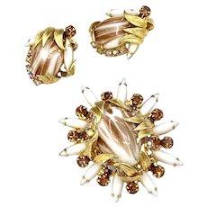 Vintage Juliana D&E Venus Flames Brooch and Earrings