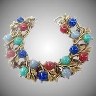 Vintage Multicolor Cabochon Link Bracelet