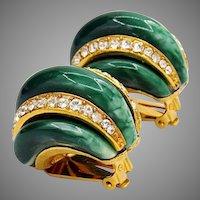 Vintage KJL Kenneth Jay Lane Green Enamel Earrings
