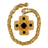 Vintage Kenneth Jay Lane KJL Large Maltese Cross Pendant