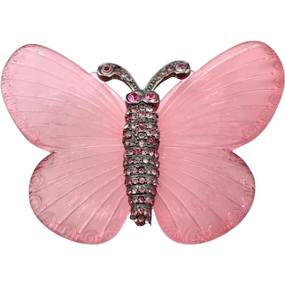 KJL Large Pink Acrylic and Rhinestone Butterfly Brooch
