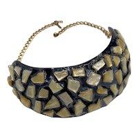 Kenneth Jay Lane KJL Rigid Resin Collar Necklace 1990s
