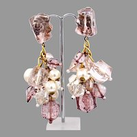 Vintage Lucite and Faux Pearl Chunky Earrings