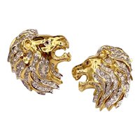 Vintage Lion Figural Rhinestone Earrings