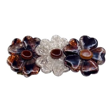 Vintage Lea Stein Cellulose Acetate Flower Pin
