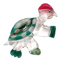 Vintage Large Lucite Acrylic Turtle Brooch Reverse Painted