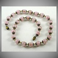 Vintage Pink Murano Glass Bead Necklace