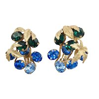 Huge Vintage Napier Blue and Green Rhinestone Earrings