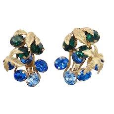 Huge Vintage Napier Blue and Green Rhinestone Earrings