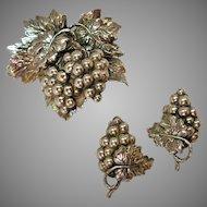 Napier Grape Leaf Brooch & Earrings