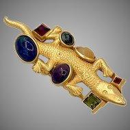 Vintage Natasha Stambouli Lizard Brooch Semi Precious Stones