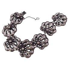 Vintage Napier Sterling Silver Floral Motif Bracelet