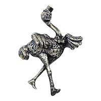 Vintage 1940s Large Ostrich Pewter Brooch with Top Hat