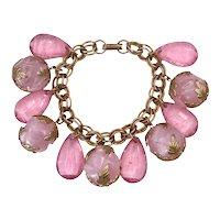Vintage Pink Plastic Dangle Cha Cha Bracelet