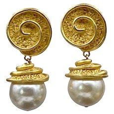 Vintage Poggi of Paris Faux Pearl Earrings
