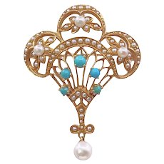 Vintage 14K Gold Pearl and Turquoise Brooch