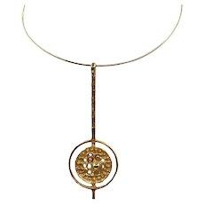 Vintage 1970s Mid Century Modernist Robert Larin Pendant Necklace MCM