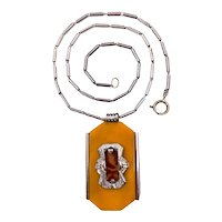 Vintage Necklace with Early Plastic Resin Pendant