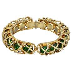 Vintage Hattie Carnegie Green Rhinestone Hinged Clamper Bracelet