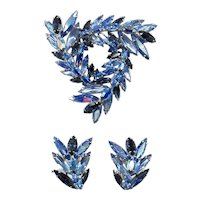 Vintage Sherman Blue Rhinestone Brooch & Earrings  Set