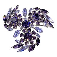Stunning Sherman Vintage Purple Cardinal & Alexandrite Rhinestone Brooch