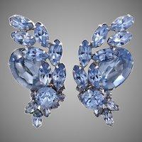 Vintage Sherman Blue Rhinestone Large Earrings