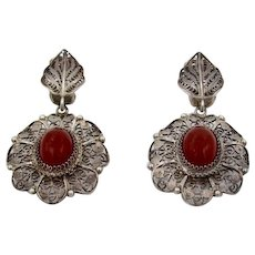 Vintage 830 Silver Filigree and Carnelian Earrings